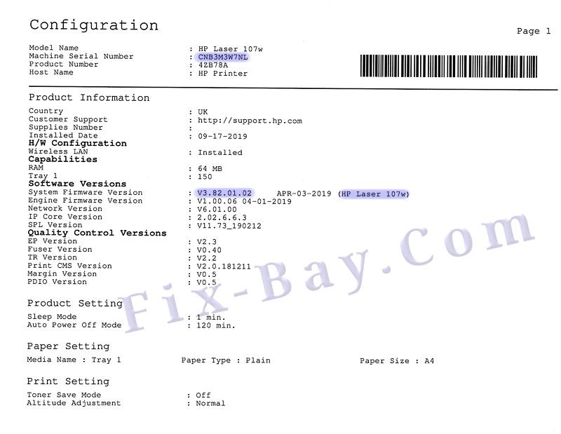 Отчёт Configuration Report Laser 107w